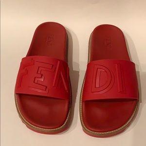 Red Fendi Slides / Sandals